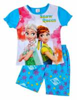 Girl's 100% Cotton Summer Pyjamas - Disney Frozen - Elsa and Anna Pyjamas - Size 10 - Blue - Limited Stock