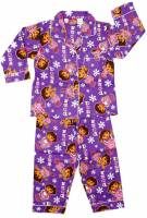 Girl's Flannelette Pyjamas (100% Cotton) - Purple Dora the Explorer (Winter Dora) Pyjamas - Size 5 - Purple - Limited Stock
