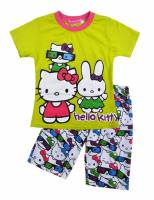 Girl's 100% Cotton Summer Pyjamas - Hello Kitty Pyjamas - Size 6 - Lime Green/Pink/White - Limited Stock