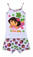 Girl's 100% Cotton Summer Pyjamas - Dora Pyjamas - Size 2 - White - Limited Stock