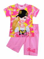 Girl's 100% Cotton Summer Pyjamas - Barbie Pyjamas - Size 8 - Pink - Limited Stock