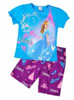 Girl's 100% Cotton Summer Pyjamas - Disney Princess - Cinderalla Pyjamas - Size 10 - Blue/Purple - Limited Stock