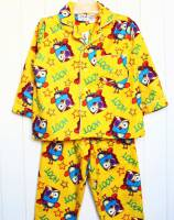 Children's Flannelette Pyjamas (100% Cotton) - Giggle and Hoot Pyjamas - Size 2 - Yellow - Limited Stock