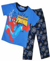 Boy's 100% Cotton Spring/Autumn Pyjamas - Blue Spiderman Pyjamas - Size 5 - Blue/Black - Limited Stock