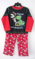 Boy's 100% Cotton Spring/Autumn Pyjamas - George Pig Red & Black Dinosaur Pyjamas (Peppa Pig) - Size 5 - Black/Red - Limited Stock