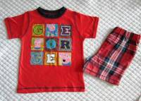 Boy's 100% Cotton Summer Pyjamas - George Pig Pyjamas (Peppa Pig) - Size 5 - Red/Red & Blue Tartan - Limited Stock