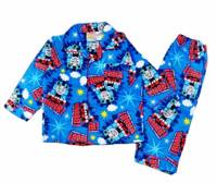Boy's Flannelette Pyjamas (100% Cotton) - Thomas the Tank Engine Pyjamas - Size 1 - Mid-Blue - Limited Stock
