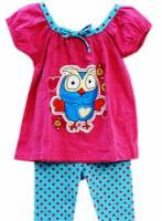 Girl's Spring/Autumn Pyjamas - Giggle and Hoot Pyjamas - Hoot Pyjamas - Size 5 - Pink/Blue - Limited Stock