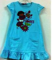 Girl's 100% Cotton Summer Pyjamas - Dora the Explorer Short Sleeve Nightie - Size 6 - Light Blue - Limited Stock