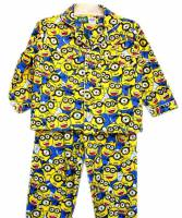 Children's Flannelette Pyjamas (100% Cotton) - Minions Pyjamas - Size 2 - White/Yellow/Blue - Limited Stock