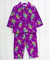 Girl's Flannelette Pyjamas (100% Cotton) - Smurfette Pyjamas - Size 4 - Purple - Limited Stock
