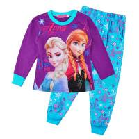 Girl's 100% Cotton Spring/Autumn Pyjamas - Disney Frozen - Anna & Elsa Pyjamas - Size 3 - Purple/Blue - Limited Stock