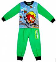 Boy's 100% Cotton Spring/Autumn Pyjamas - Green Angry Birds Star Wars Pyjamas - Size 6 - Green/Black - Limited Stock