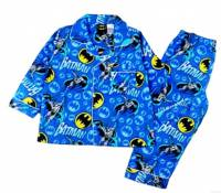 Boy's Flannelette Pyjamas (100% Cotton) - Batman Pyjamas - Size 6 - Blue - Limited Stock