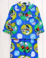 Boy's Flannelette Pyjamas (100% Cotton) - Smurf Pyjamas - Size 2 - Blue - Limited Stock
