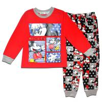 Boy's 100% Cotton Spring/Autumn Pyjamas - Disney Pyjamas - Mickey Mouse Pyjamas - Size 2 - Red/Grey - Limited Stock