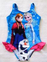 Girl's Swimmers - Disney Frozen (Elsa and Anna) Swimsuit - Size 8 - Blue - Limited Stock