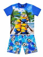 Boy's 100% Cotton Summer Pyjamas - Minions Pyjamas - Size 10 - Blue - Limited Stock