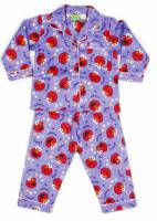 Children's Flannelette Pyjamas (100% Cotton) - Sesame Street - Elmo (Hearts & Flowers) Pyjamas - Size 4 - Purple - Limited Stock