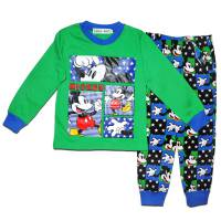 Boy's 100% Cotton Spring/Autumn Pyjamas - Disney Pyjamas - Mickey Mouse Pyjamas - Size 2 - Green/Blue - Limited Stock