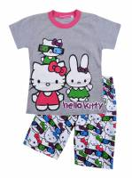 Girl's 100% Cotton Summer Pyjamas - Hello Kitty Pyjamas - Size 4 - Grey/Pink/White - Limited Stock