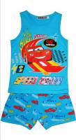 Boy's 100% Cotton Summer Pyjamas - Disney Cars - Lightning McQueen Pyjamas - Size 3 - Blue - Limited Stock