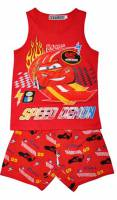 Boy's 100% Cotton Summer Pyjamas - Disney Cars - Lightning McQueen Pyjamas - Size 4 - Red - Limited Stock