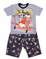 Boy's 100% Cotton Summer Pyjamas - Grey Disney Planes Pyjamas - Size 8 - Grey/Black - Limited Stock