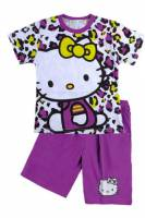 Girl's 100% Cotton Summer Pyjamas - Hello Kitty Pyjamas - Size 4 - Purple - Limited Stock
