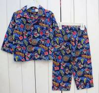 Boy's Flannelette Pyjamas (100% Cotton) - Disney Pyjamas - Mickey Mouse State Pyjamas - Size 5 - Blue - Limited Stock