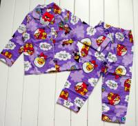 Girl's Flannelette Pyjamas (100% Cotton) - Female Angry Birds Pyjamas - Size 8 - Lilac - Limited Stock