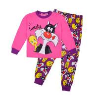 Girl's 100% Cotton Spring/Autumn Pyjamas - Tweety Pyjamas (Tweety and Silvester Pyjamas) - Size 6 - Pink/Purple - Limited Stock